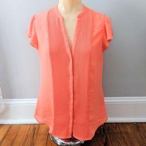 H&M Pleated Front Flutter Sleeve Orange Blouse
